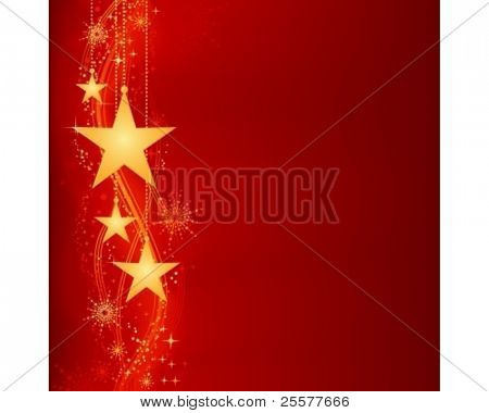 Festive dark red Christmas background with golden stars, snow flakes and grunge elements. Artwork grouped and layered. Background with blend and clipping mask. Use of linear and radial gradients.