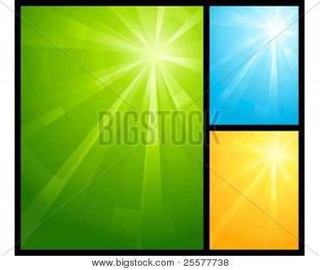 Asymmetrische Light burst in drei Farbschemata mit dem Zentrum in die obere Rechte Dritter. Verwendung von radia