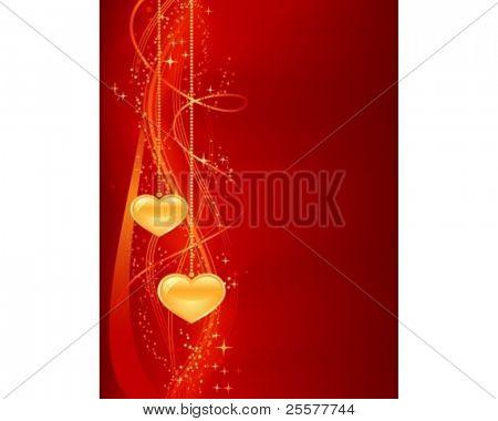 Fondo romántico en oro rojo con corazones. Abstact vertical para sus diseños románticos.