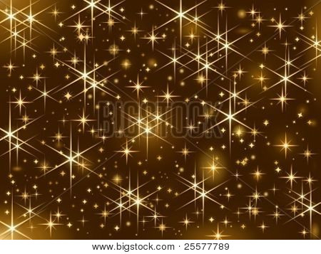 Dark brown background with sparkling golden stars.