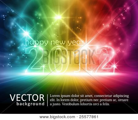 Transparent number 2012 on colorful dark background. Various lights and effects giving it a glow and feeling for party time. Space for your text. EPS10