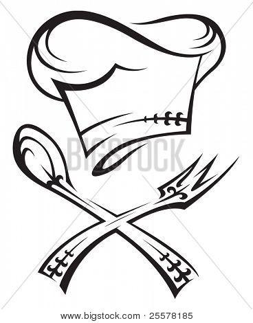 Chef Hut mit Löffel und Gabel