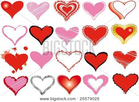 Conjunto de corações para o dia dos Namorados