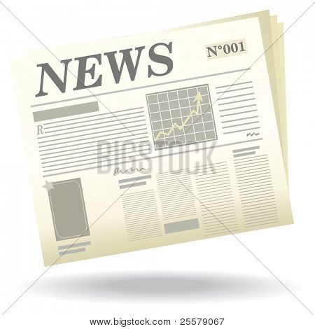 A newspaper with a shadows/ News