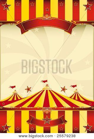 rojo y amarillo circo superior cartel A rojo y amarillo cartel con una carpa.