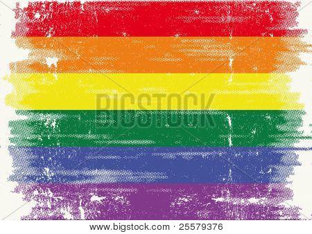 La bandera Gay con una textura Grunge. .