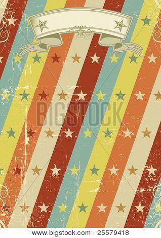 vintage stars pattern poster. A vintage design for a retro poster