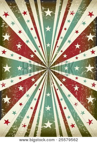 tricolor star grunge background. patriotic vintage poster for your advertising