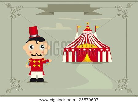 welcome to the circus. A ringmaster in front of a big top.