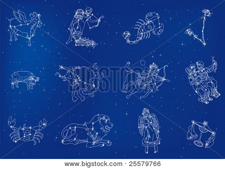 Zodiac signs located in the star sky