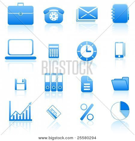 Blue office and business icons set