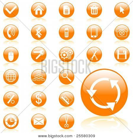 Orange glossy vector web icon set