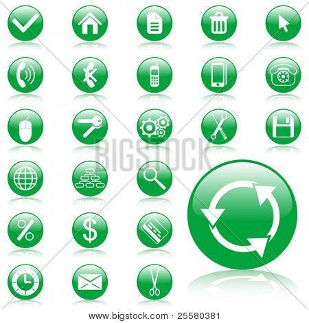Green glossy vector web icon set