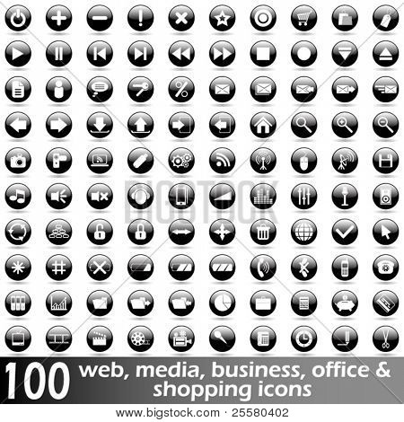 Hundred glossy web, media, business, office and shopping vector icons