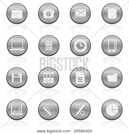Metallic office and business icons set