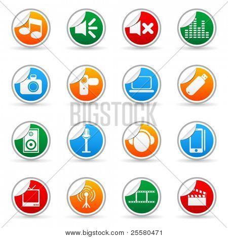 Vektor Medien Aufkleber Symbol für Web-Anwendungen (Set 1)