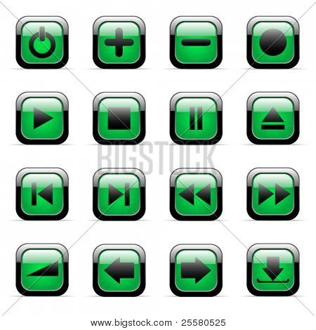 Green vector icons set for web applications (set 2)