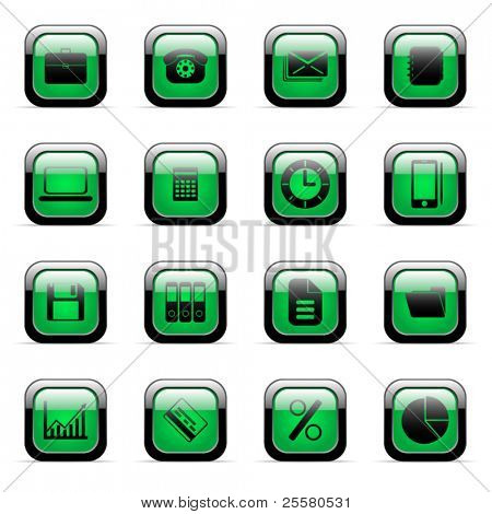 Green vector icons set for web applications (set 4)