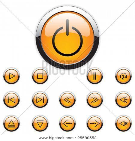 Vector media buttons set. Orange.