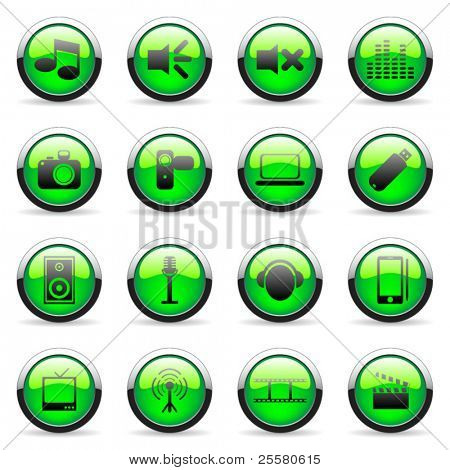 Green vector media and web icon (set 1)