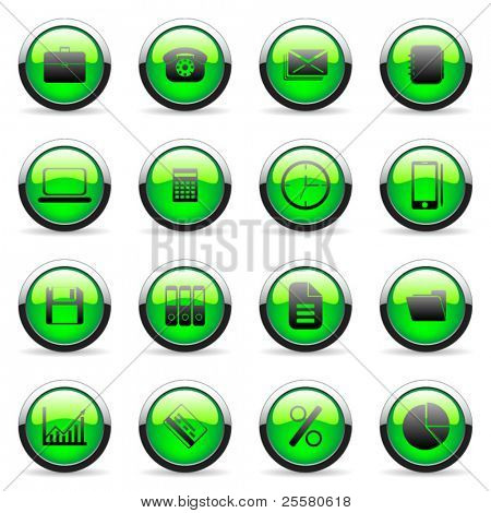 Green vector media and web icon (set 2)