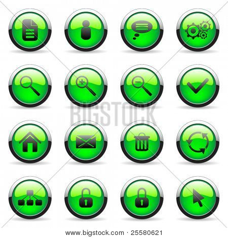 Green vector media and web icon (set 3)
