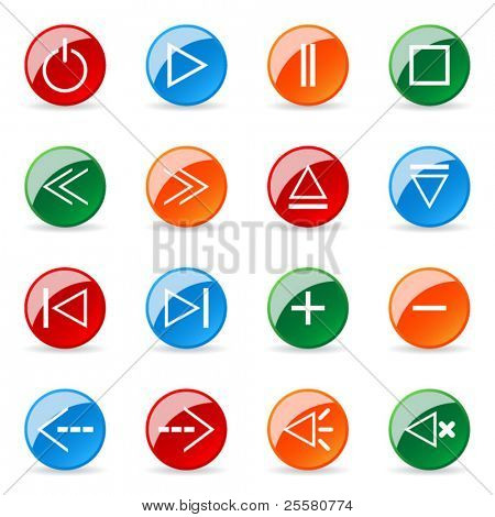 Colored and glossy vector icon (set 3)