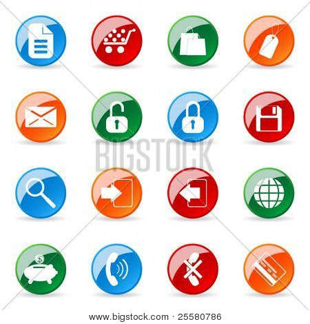 Colored and glossy vector icon (set 6)