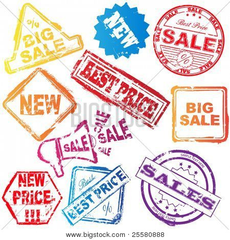 Vector sale stamp set