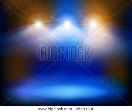 Luzes do palco. Ilustração vetorial.