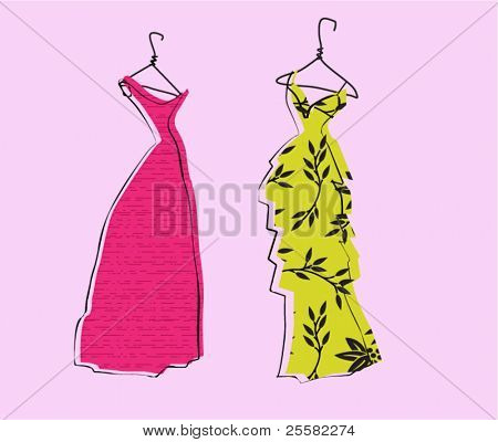 Glamor Girl's Wardrobe, Fuchsia and Yellow Evening Gowns