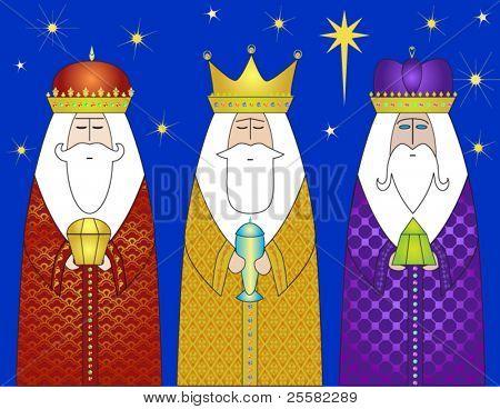 Reyes magos trayendo regalos a Cristo