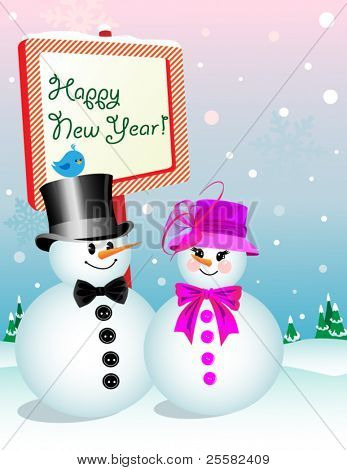 Snowman and Snow-woman wishing you a Happy New Year