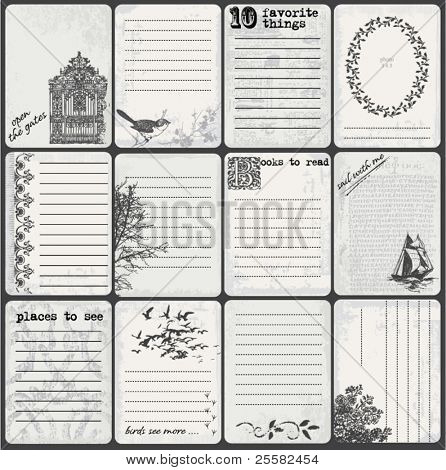 Set of 12 grunge black and white journal cards