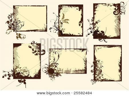 Quadros de floral grunge em tons sépia