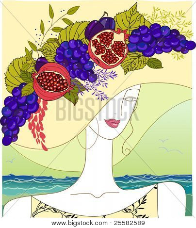 Hand-drawn portrait of a beauty with an opulent fruit hat