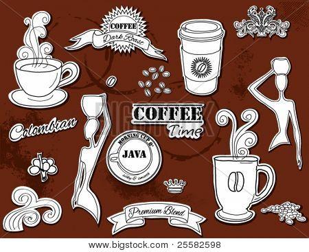 Elementos de diseño Doodle - café