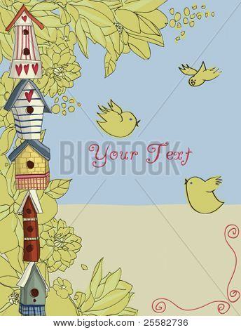 Birdhouses, vertical background
