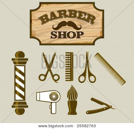 Barber Shop or Hairdresser icons and signpost