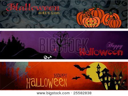 Three Halloween Banners/Headers or Footers, designed to fit blog and web site holiday headers (900x200 pixels each), can be easily re-sized and adjusted for different uses