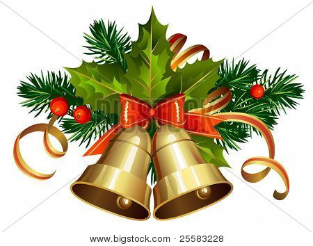 Decoración de la Navidad con árboles de hoja perenne y campanas