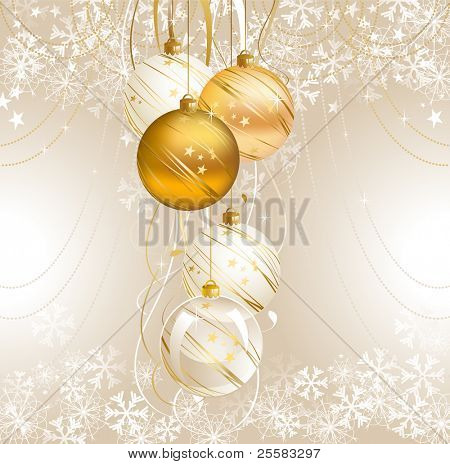 light Christmas backdrop with five balls