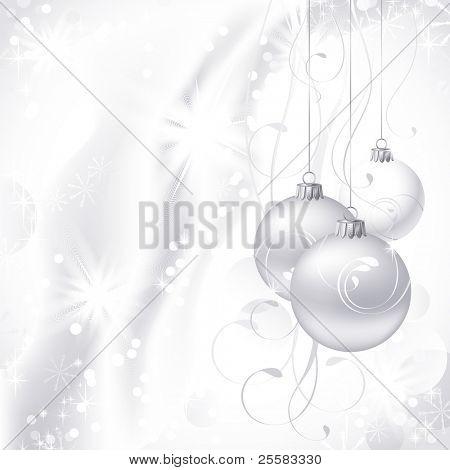 white Christmas backdrop with three  balls