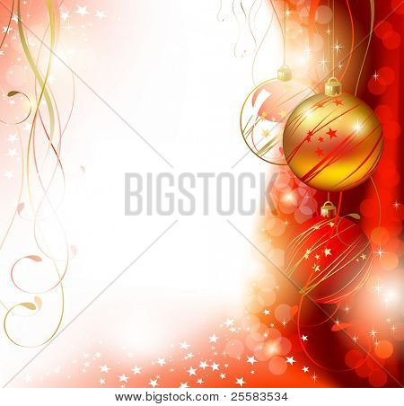 Shiny  Christmas backdrop with three evening balls