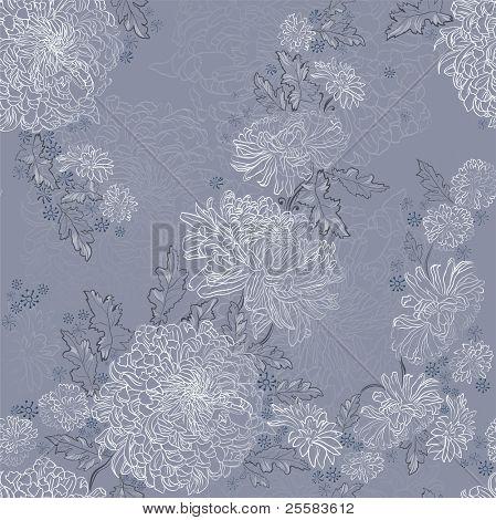 seamless ornament of tender chrysanthemums