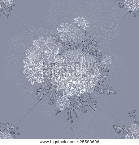 seamless ornament with bouquets of chrysanthemums