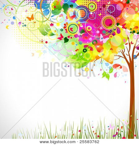 summer composition with multicolor tree
