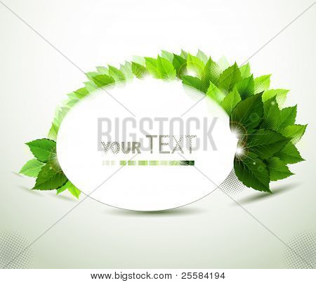 oval frame with fresh green leaves