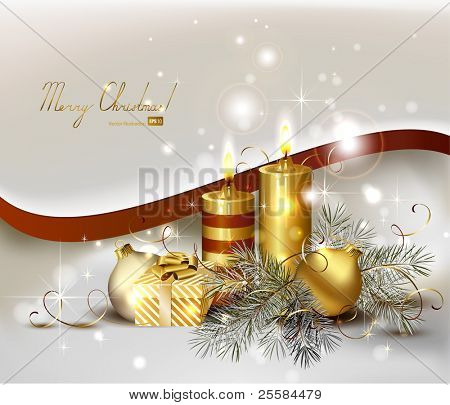 light Christmas background with burning candles and Christmas gift