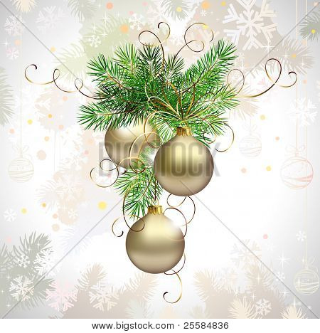 light Christmas background with three evening balls and fir tree